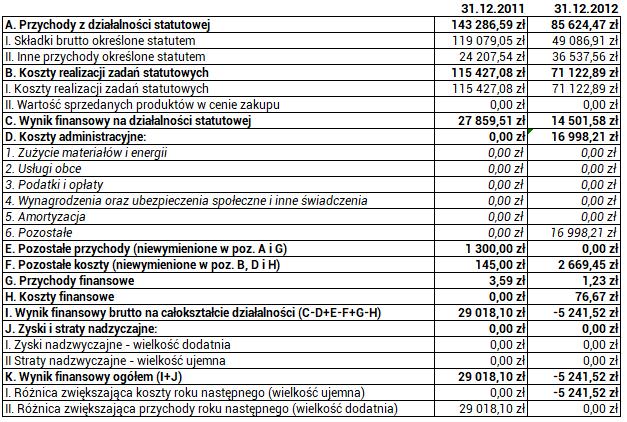Ruch Autonomii Śląska - rauchunek zysków i strat za rok 2012