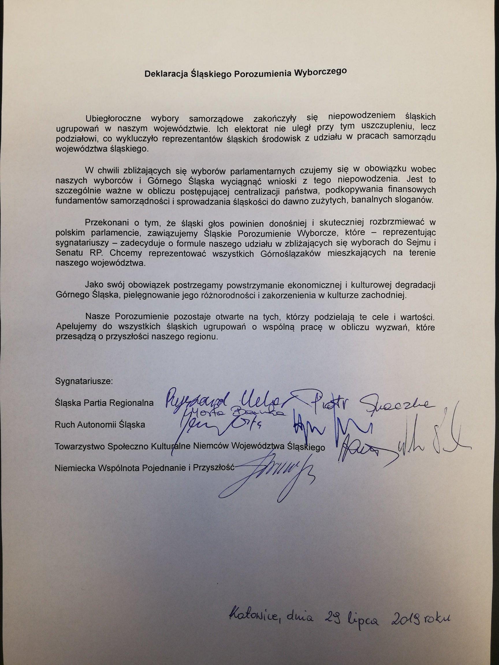 Treść deklaracji Śląskiego Porozumienia Wyborczego
