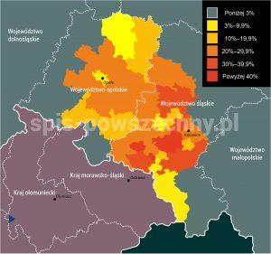 Odsetek osób deklarujących narodowość śląską w 2011 roku
